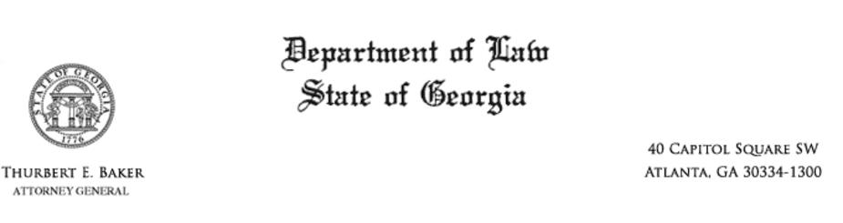 Georgia Department of Law, from the office of Thurbert E. Baker, Attorney General