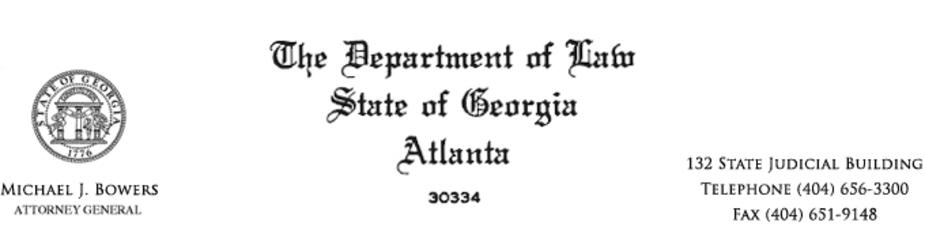 Georgia Department of Law, from the office of Michael J. Bowers, Attorney General